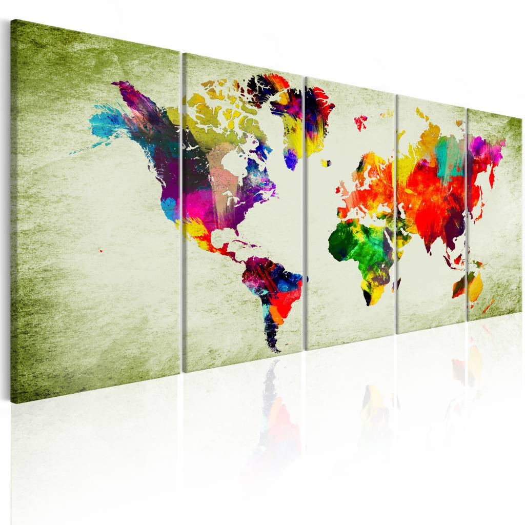 Schilderij - Kleurrijke Continenten - Wereldkaart , multi kleur , 5 luik , 2 maten