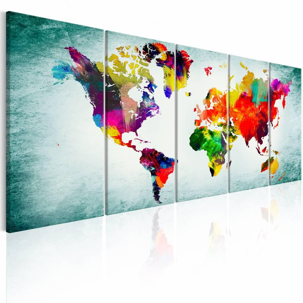 Schilderij - Groene Vervaging- Wereldkaart , multi kleur , 5 luik , 2 maten