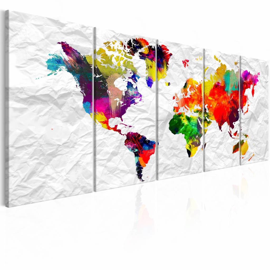 Schilderij - De wereld op Papier - Wereldkaart ,papier look , multi kleur , 5 luik , 2 maten
