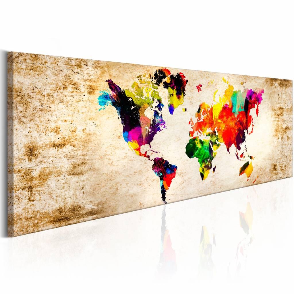 Schilderij - Wereld in Waterverf - Wereldkaart 150X50 , multi kleur , 1 luik