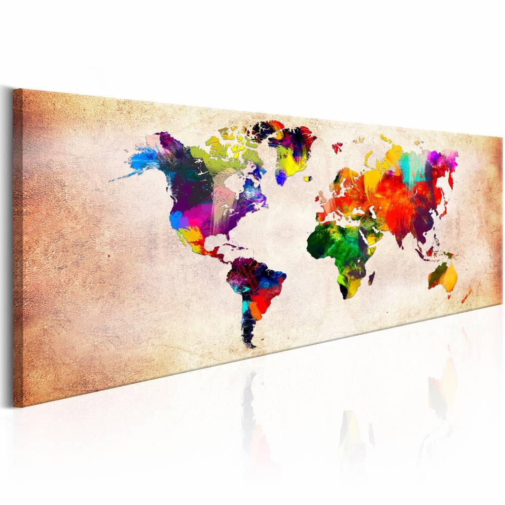 Schilderij - Kleurrijke Wereld Vintage - Wereldkaart 150X50 , multi kleur , 1 luik