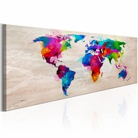 Canvas Schilderij - Kleurrijke Wereld - Wereldkaart 150X50 , multi kleur , 1 luik