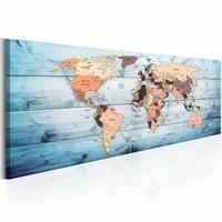 Schilderij - Blauwe Reis  - Wereldkaart 150X50 , hout look , blauw , 1 luik