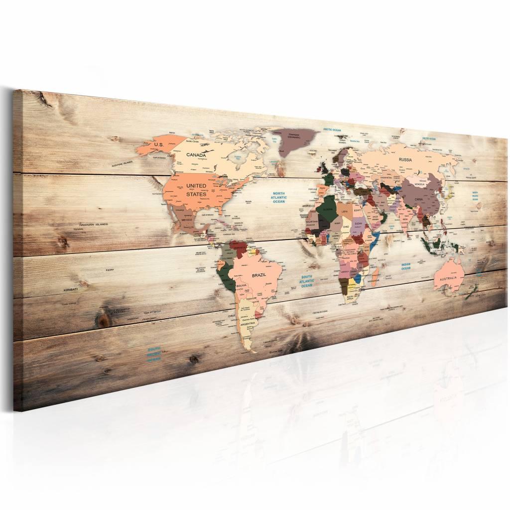 Schilderij - Droom Wereld - Wereldkaart 150X50 , hout look ,beige , 1 luik