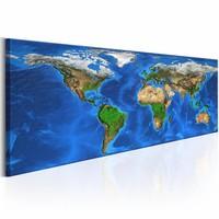 Schilderij - Geweldige Wereld - Wereldkaart 150X50cm , blauw groen , 1 luik