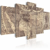 Schilderij - Amerigo Vespucci: Ontdekking van de Nieuwe Wereld ,wereldkaart ,  grijs beton look , 5 luik , 2 maten