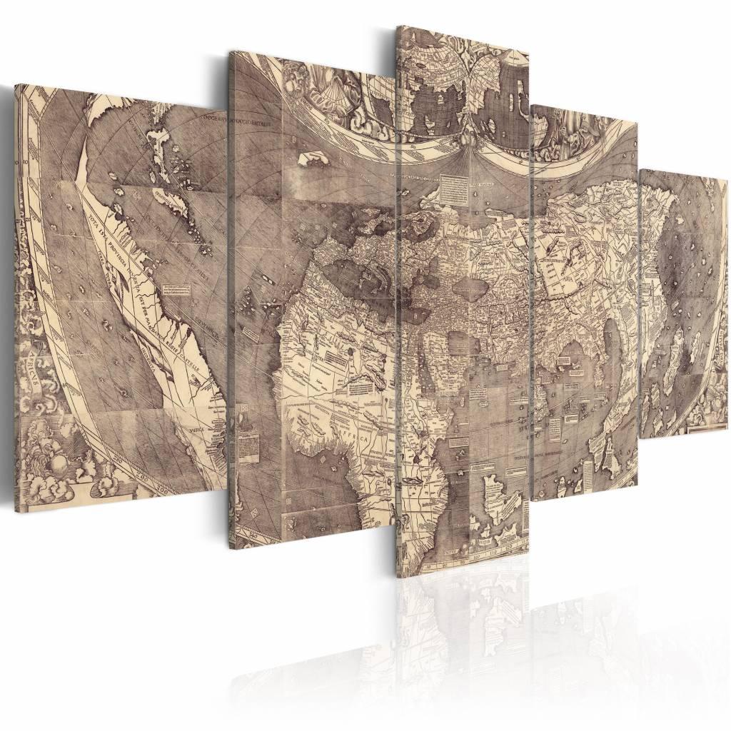 Schilderij - Amerigo Vespucci: Ontdekking van de Nieuwe Wereld ,wereldkaart , grijs beton look , 5 l
