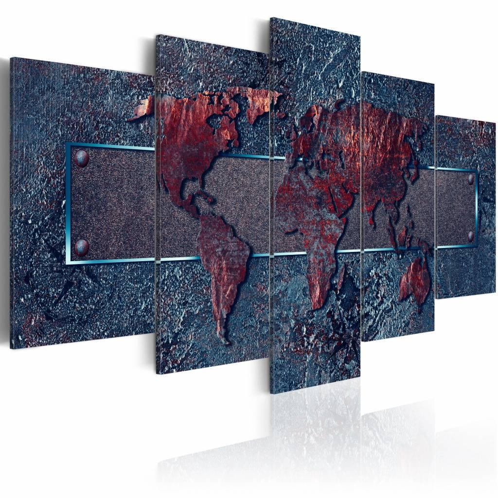 Schilderij - Roestige Expeditie - Wereldkaart , roest kleur blauw , 5 luik , 2 maten
