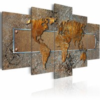 Schilderij - Wonderlijke Wereld - Wereldkaart, 5 luik