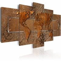 Schilderij - Bruine Escapade - Wereldkaart , bruin , 5 luik