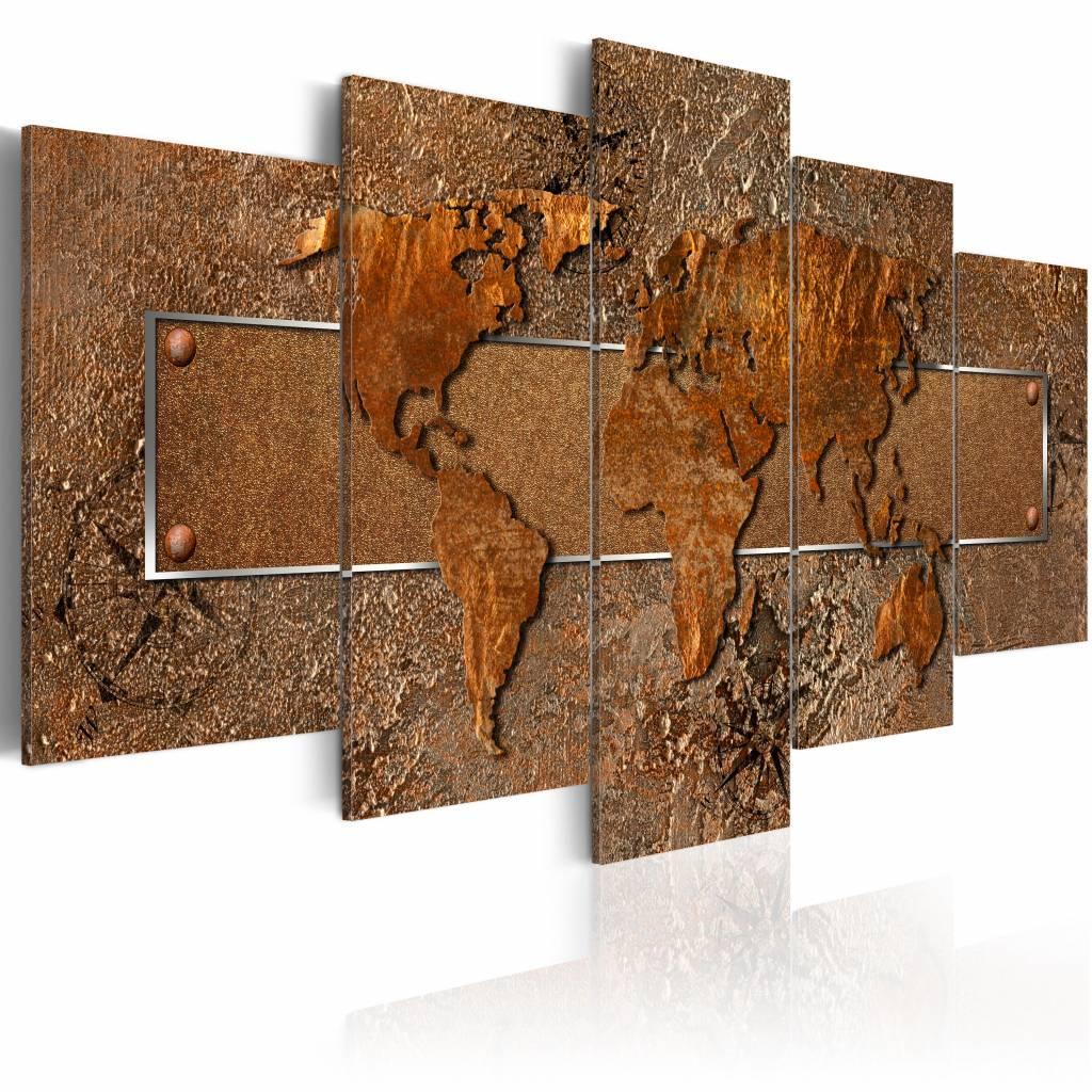 Schilderij - Bruine Escapade - Wereldkaart , bruin , 5 luik , 2 maten