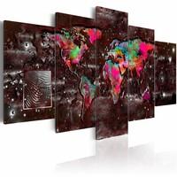 Schilderij - Kleurrijke extravagantie - Wereldkaart , bruin multi kleur , 5 luik