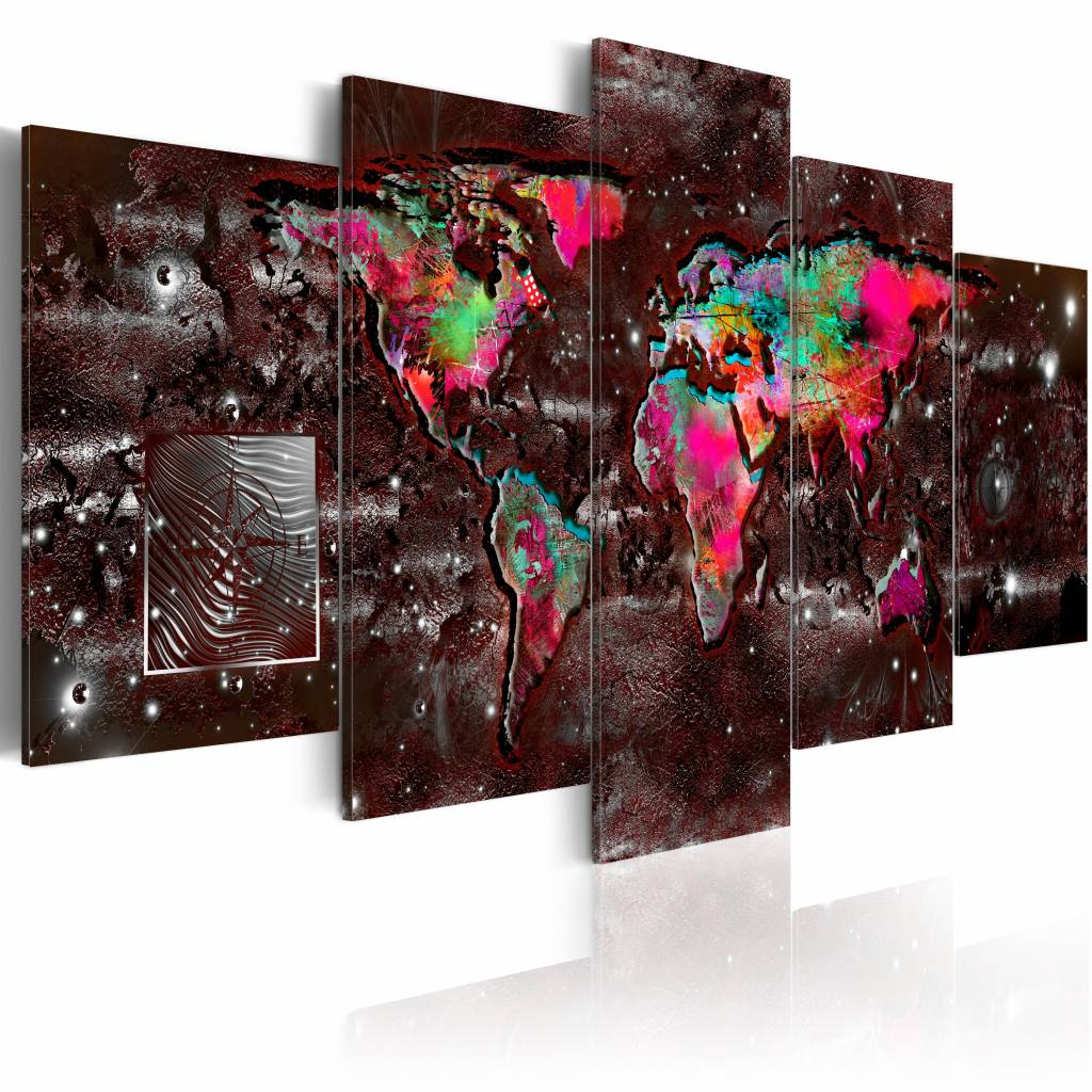 Schilderij - Kleurrijke extravagantie - Wereldkaart , bruin multi kleur , 5 luik , 2 maten