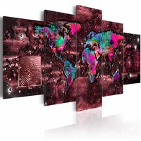 Schilderij - Robijnen Reis - Wereldkaart ,multi kleur , 5 luik
