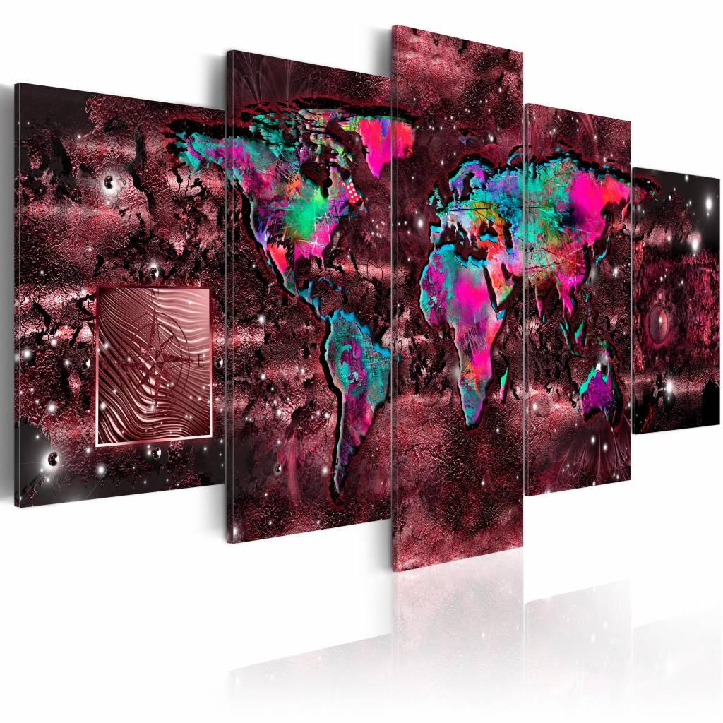 Schilderij - Robijnen Reis - Wereldkaart , rood , multi kleur , 5 luik , 2 maten