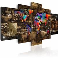 Schilderij - Fantasie Wereld - Wereldkaart , bruin , multi kleur , 5 luik