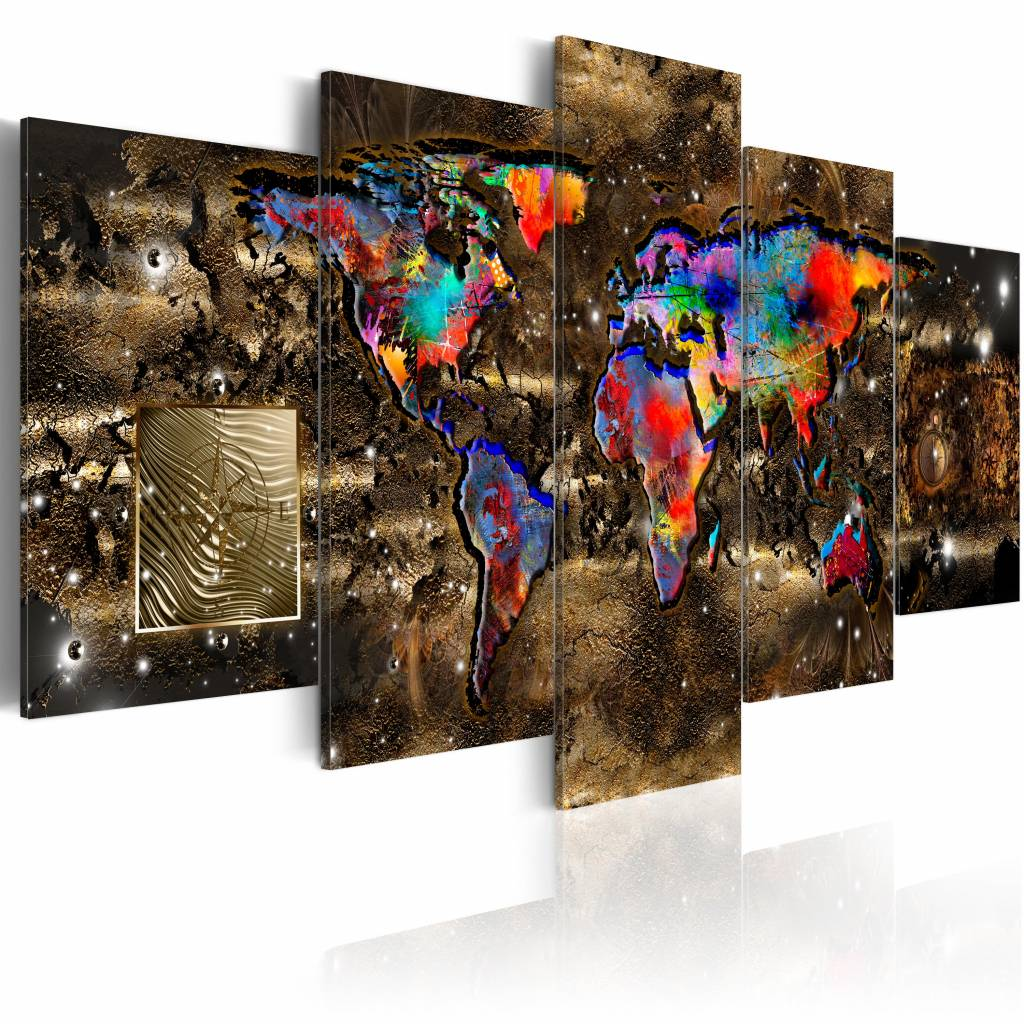 Schilderij - Fantasie Wereld - Wereldkaart , bruin , multi kleur , 5 luik , 2 maten