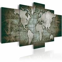 Schilderij - Emerald Map - Wereldkaart , 5 luik