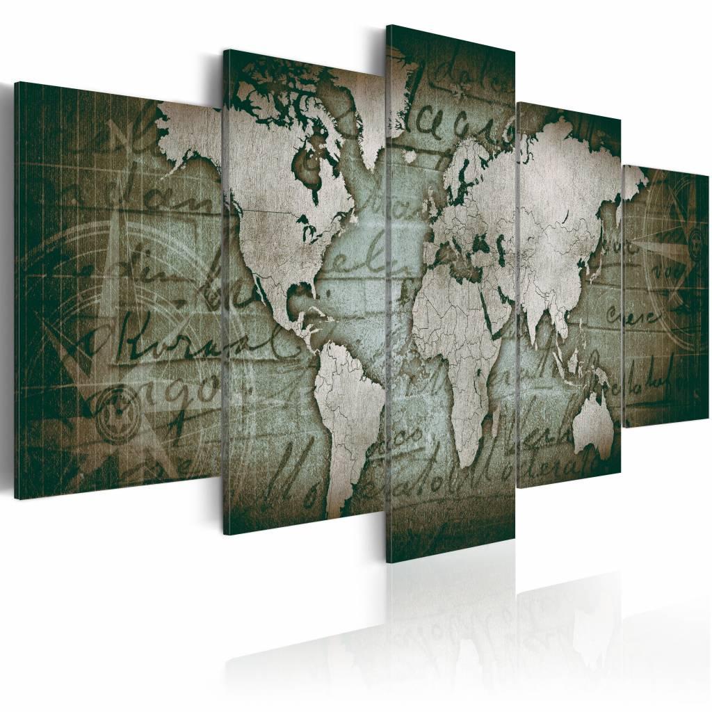 Schilderij - Emerald Map - Wereldkaart , smaragd groen kleur , 5 luik , 2 maten