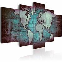 Schilderij - Saffieren  Map - Wereldkaart , turquoise blauw , 5 luik