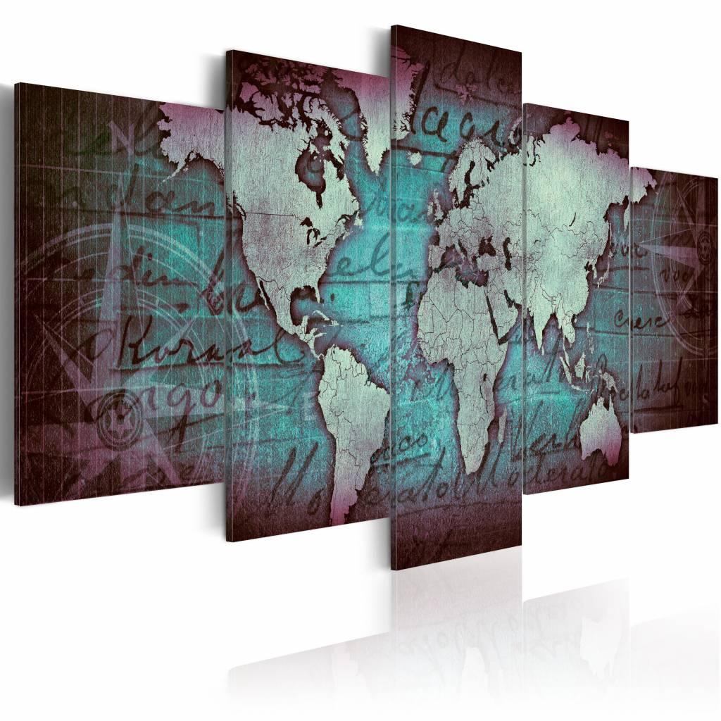 Schilderij - Saffieren Map - Wereldkaart , turquoise blauw , 5 luik , 2 maten