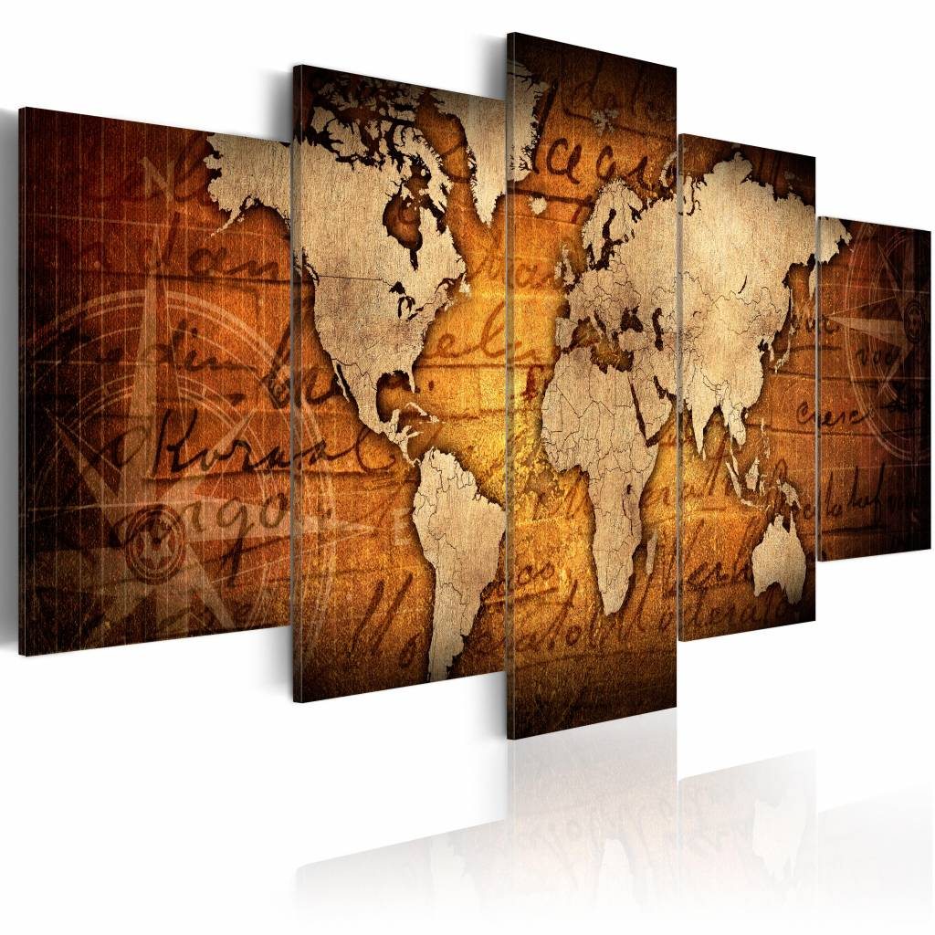 Schilderij - Amber Map, wereldkaart , bruin roest kleur, 5 luik , 2 maten