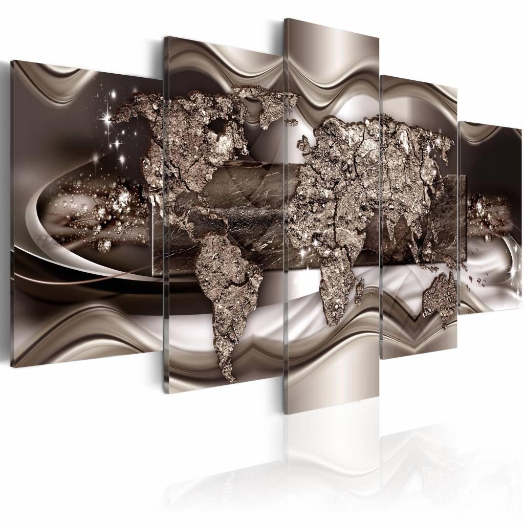 Schilderij - Frames of the World, wereldkaart , naturel kleur , 5 luik , 2 maten