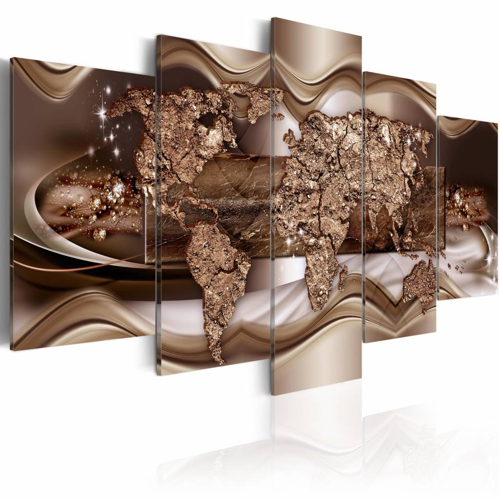 Schilderij - Land in krullen, wereldkaart, bruin , 5 luik , 2 maten