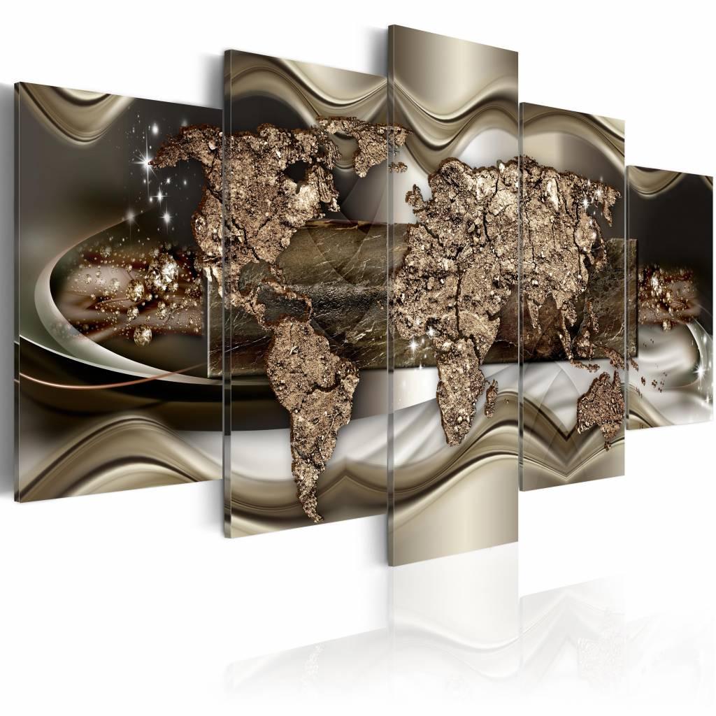 Schilderij - Gouden wereldkaart , goud look , 5 luik , 2 maten