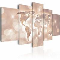Schilderij -  Spoor van licht, wereldkaart , roze , 5 luik