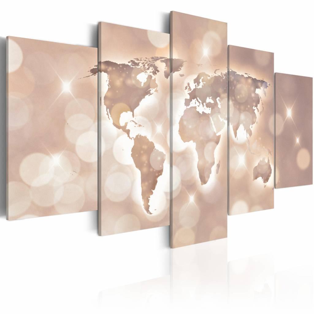 Schilderij - Spoor van licht, wereldkaart , roze , 5 luik , 2 maten