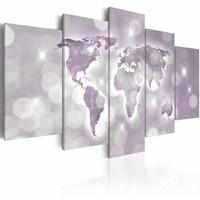Schilderij - Amethyst World , amethist , wereldkaart , 5 luik
