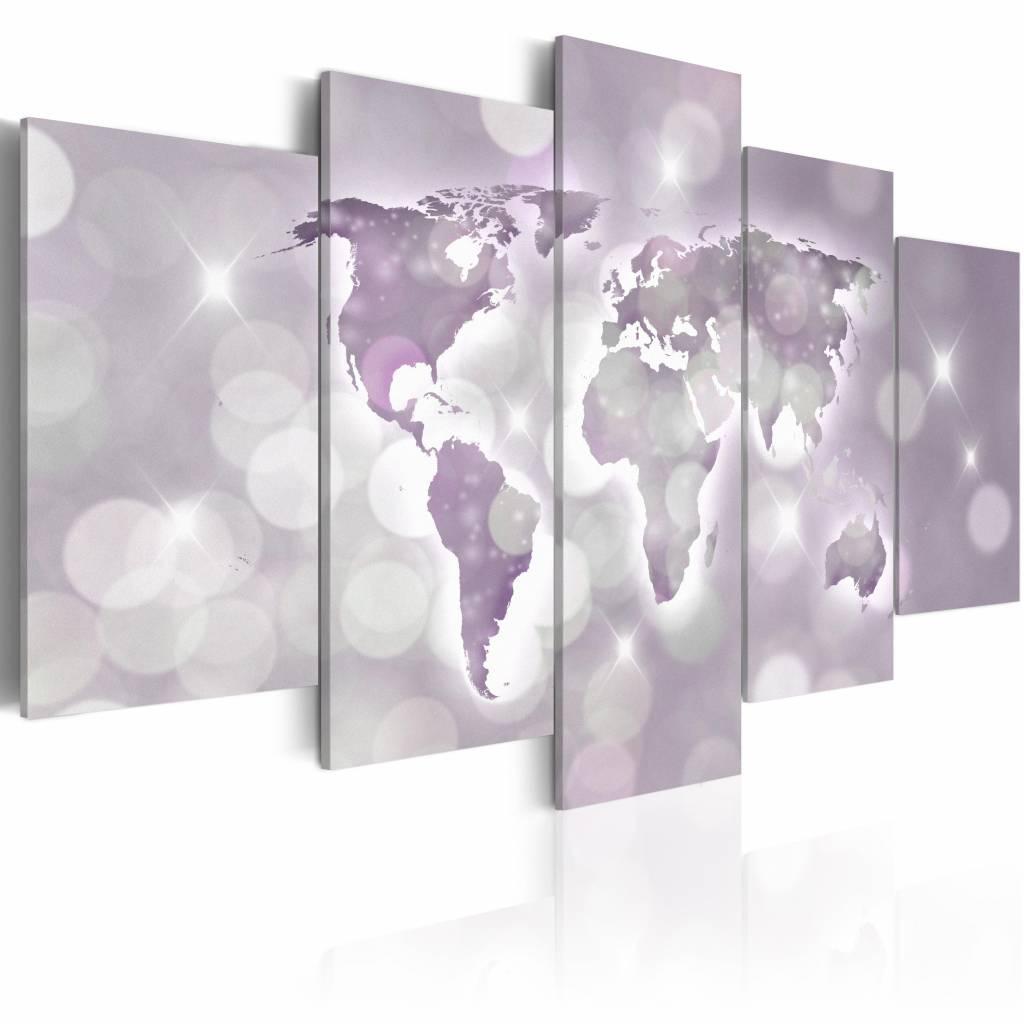 Schilderij - Amethyst World , amethist , wereldkaart , 5 luik , 2 maten