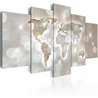 Schilderij - Lux Mundi, wereldkaart , licht der wereld , 5 luik
