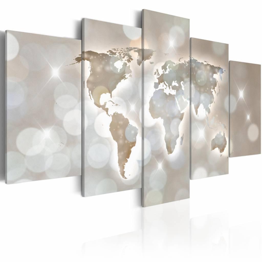 Schilderij - Lux Mundi, wereldkaart , licht der wereld , 5 luik , 2 maten