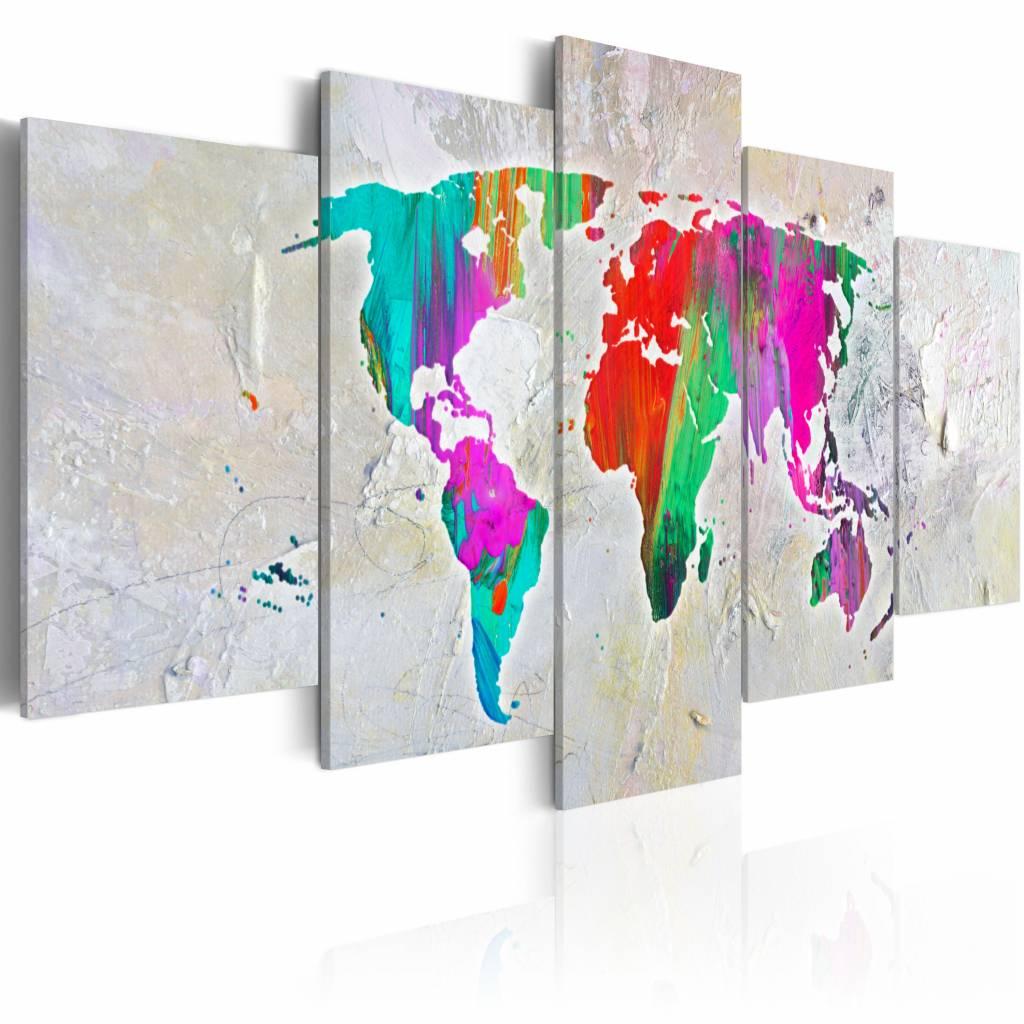 Schilderij - Onze planeet , wereldkaart , multi kleur , 5 luik , 2 maten