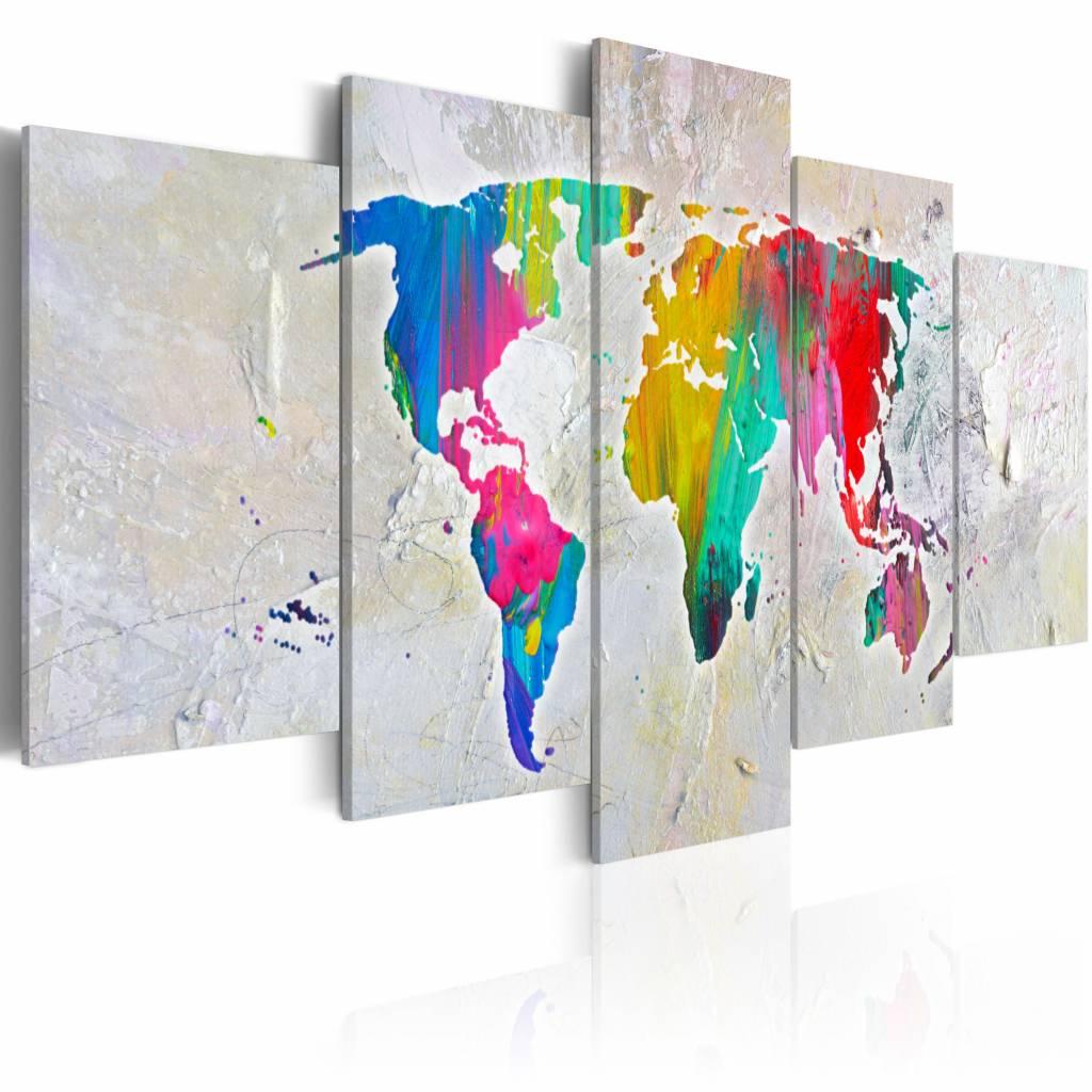 Schilderij - Energie van de aarde, wereldkaart , multi kleur , 5 luik , 2 maten