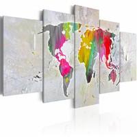 Schilderij - Wereldkaart - Illustratie van de Wereld, 5luik , multikleur , wanddecoratie , premium print op canvas