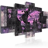 Schilderij - Wereld in het roze, wereldkaart , lila , 5 luik , 2 maten