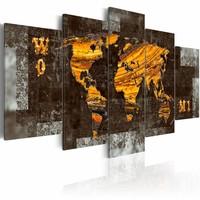 Schilderij - Verborgen schat, wereldkaart , 5 luik