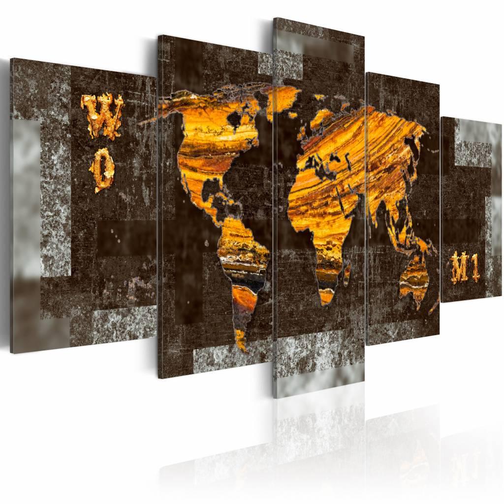 Schilderij - Verborgen schat, wereldkaart , bruin , 5 luik , 2 maten