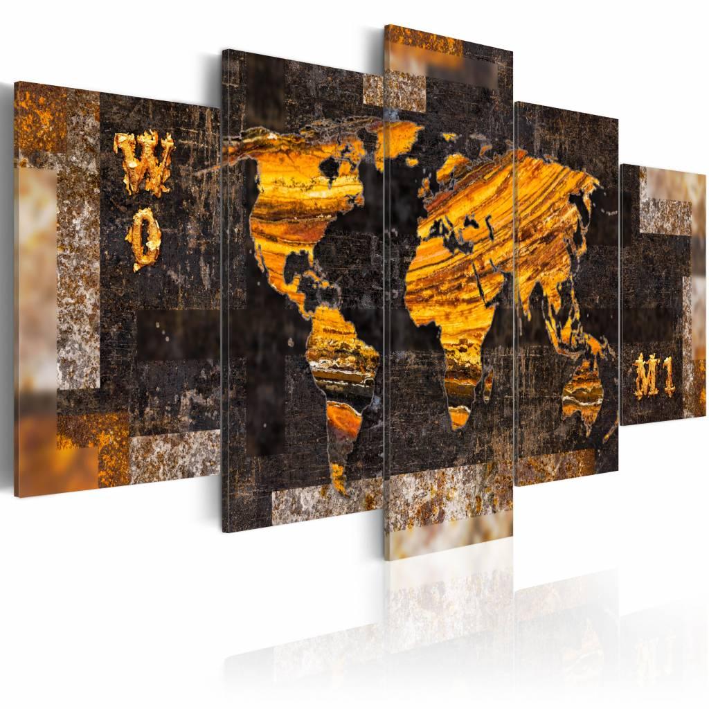 Schilderij - Wereldkaart - Wereld van Goud, 5luik , bruin oranje , wanddecoratie , premium print op