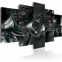 Canvas Schilderij - Donkere wereld, wereldkaart , zwart , 5 luik , 2 maten