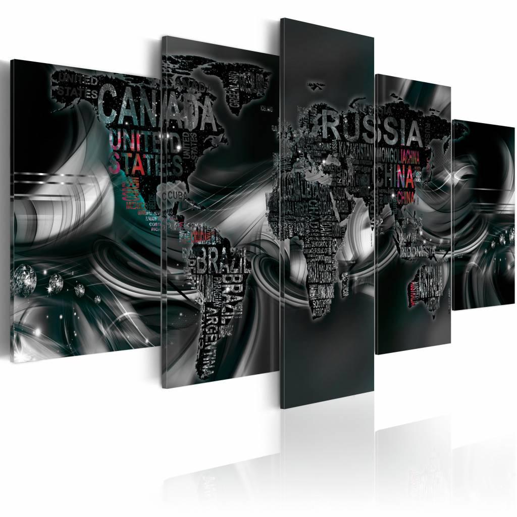 Schilderij - Donkere wereld, wereldkaart , zwart , 5 luik , 2 maten