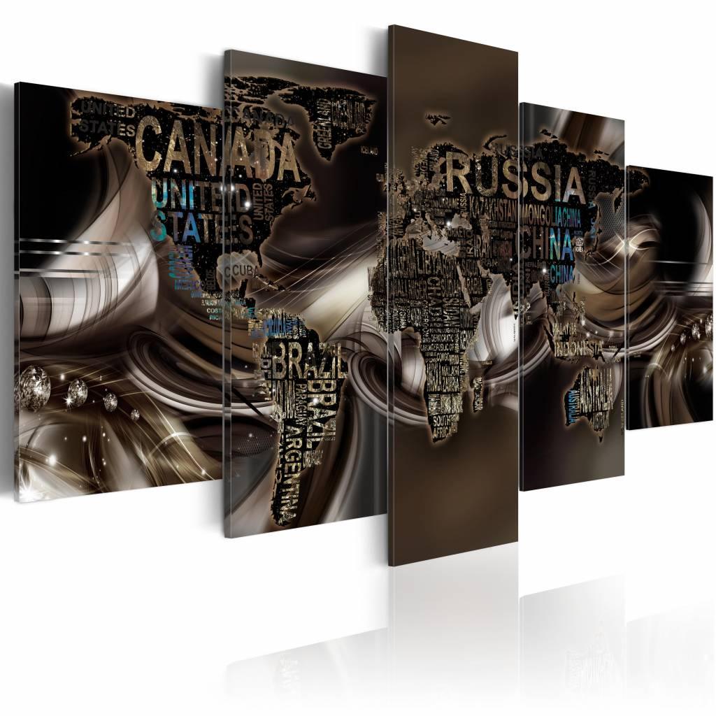 Schilderij - Vortex of Time, wereldkaart , bruin , 5 luik , 2 maten