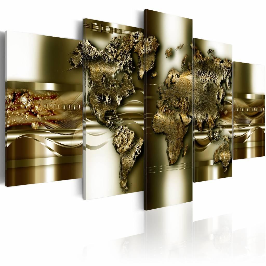 Schilderij - Gouden wereld, wereldkaart , goud look , 5 luik , 2 maten