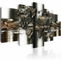 Schilderij - metalen wereld, wereldkaart , metaal look , 5 luik