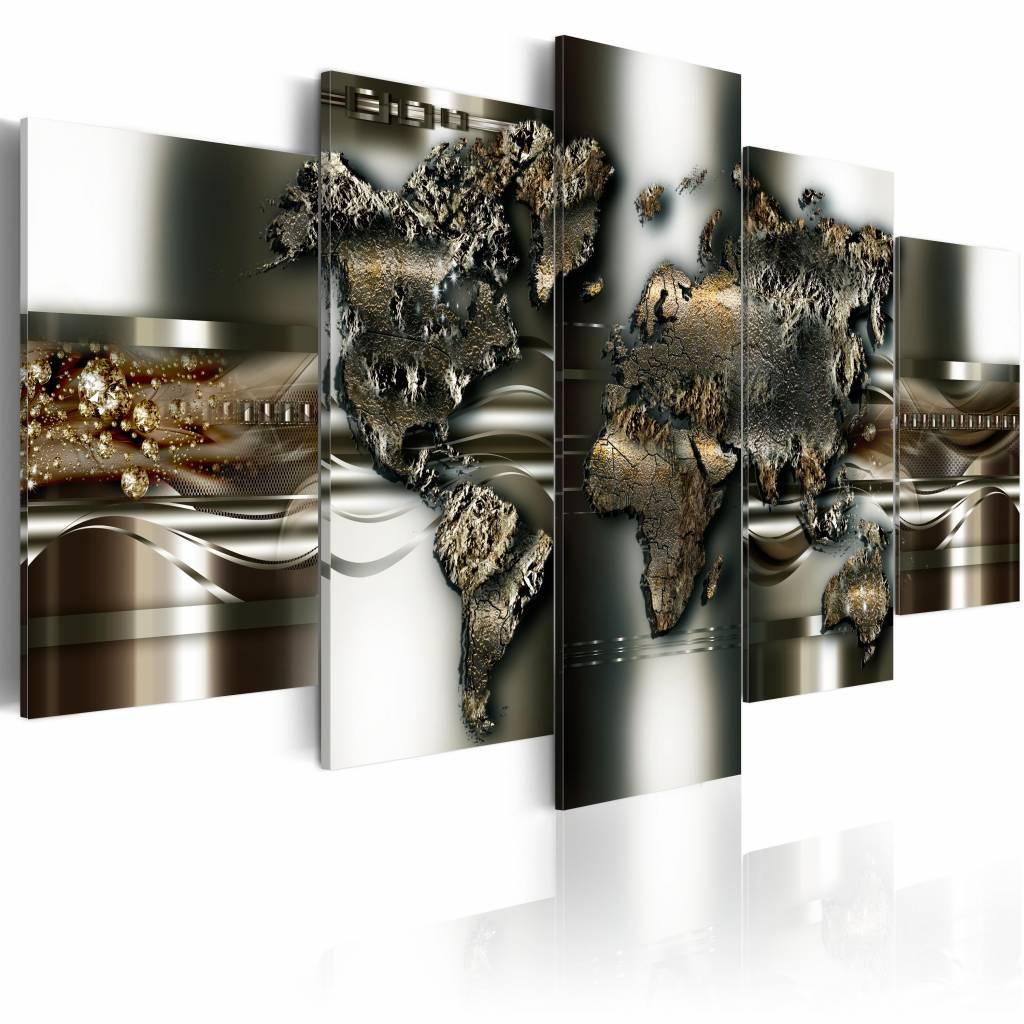 Schilderij - metalen wereld, wereldkaart , metaal look , 5 luik , 2 maten