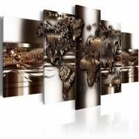 Schilderij - Non nova, sed nove, wereldkaart, metaal look, 5luik, 2 maten