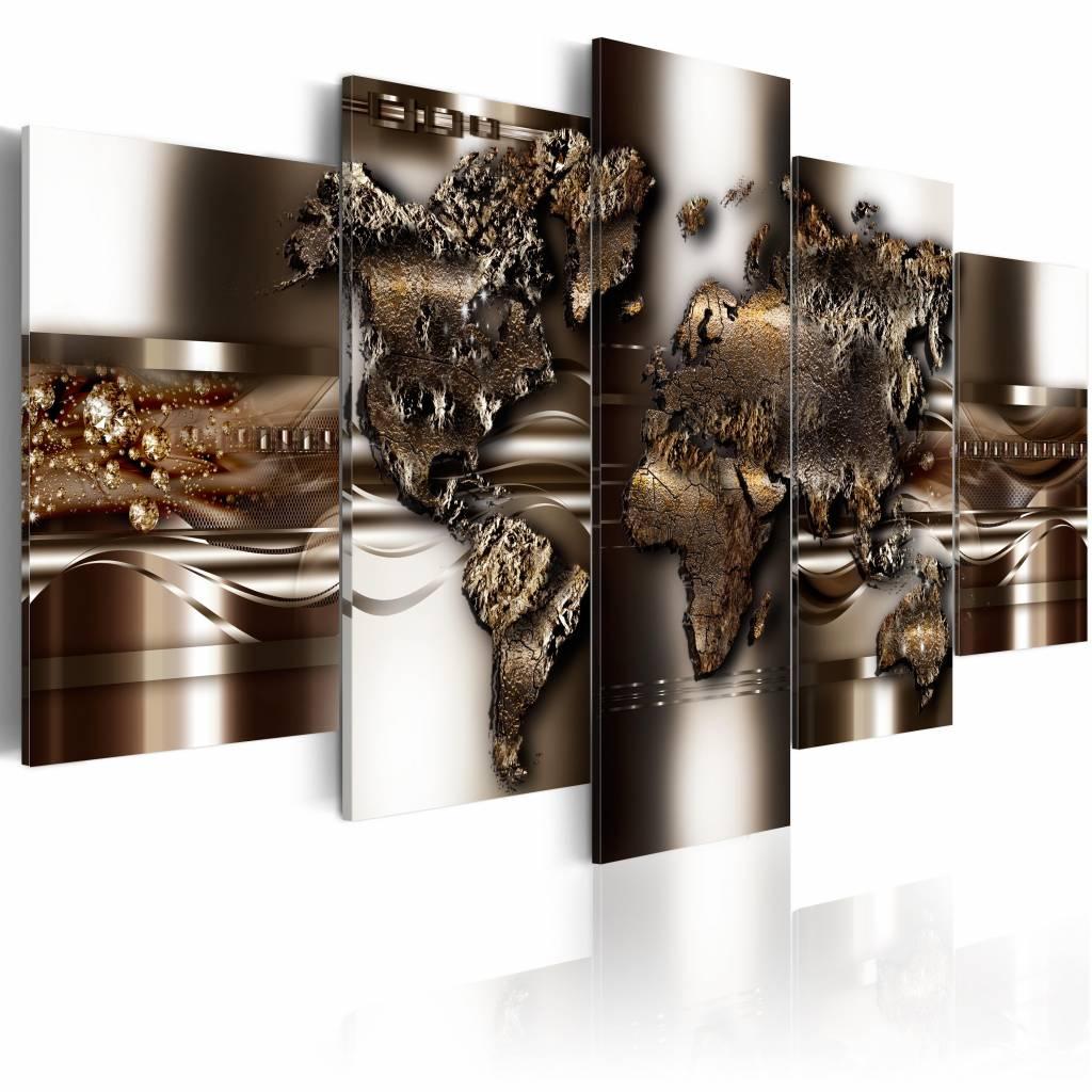 Schilderij - Wereldkaart - Non Nova, Sed Nove, Metaal look, 5luik , wanddecoratie , premium print op